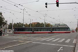 Прага. Трамвай Škoda 15T (Škoda ForCity), производства Škoda Holding